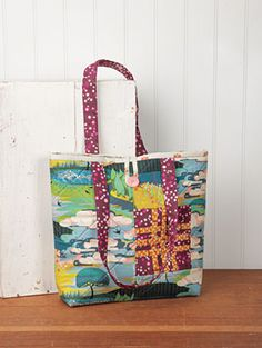 Caity Did is a roomy bag with a woven patch and playful peek-a-boo lining you can sew up from Connecting Threads