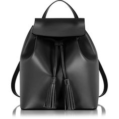 Le Parmentier Handbags Black Leather Backpack ($225) ❤ liked on Polyvore featuring bags, backpacks, backpack, bolsos, day pack backpack, leather drawstring pouch, draw string backpack, drawstring flap backpack and backpack pouch