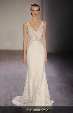 Free shipping and returns on Lazaro V-Neck Lace Trumpet Dress (In Stores Only) at Nordstrom.com. This wedding gown can't be purchased…