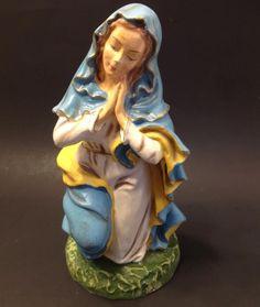 """Lg Vtg 12"""" Fontanini Mary Nativity Scene Figurine Paper Mache Composition Italy"""