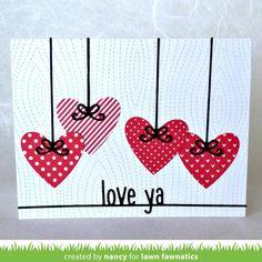 Sweet and simple Valentine card on the Lawn Fawnatics blog based on the Inspiration Board Challenge. Link in profile #lawnfawn #lawnfawnatics #cardmaking #valentines @nancyljk