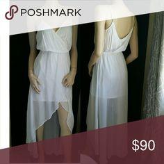 White Bebe Maxi Dress XS 0 2 New bebe Dresses Asymmetrical