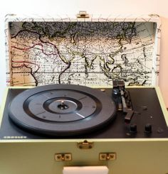 Crosley Keepsake Portable USB Turntable Map Style