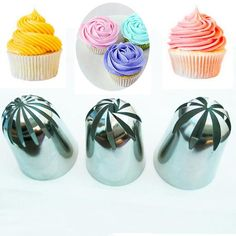 Cheap baking tools, Buy Quality piping tips directly from China nozzles pastry Suppliers: 3 PCS Large Cream Nozzle Pastry Stainless Steel Icing Piping Tips Set Cakes Decorating Baking tools Cake Decorating Piping, Cake Decorating Supplies, Cake Decorating Techniques, Decorating Tips, Cake Supplies, Icing Tips, Frosting Tips, Cupcake Frosting, Cupcake Cakes
