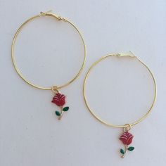 Gold hoop earrings with little red rose charms Hoop diameter is 60mm/2.3in Material is allow (lead and nickel free)