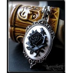 Black & White Rose Cameo Necklace from RebelsMarket