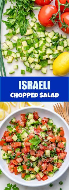 {New} Israeli Chopped Salad 🌱🍅🥒 This is a SUPER SIMPLE traditional (in many cultures around the world! 🌍) chopped salad that is made with just a few fresh Clean Eating Salads, Clean Eating Meal Plan, Healthy Eating, Healthy Fats, Healthy Choices, Vegan Recipes Easy, Clean Eating Recipes, Cooking Recipes, Kale Recipes