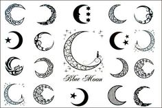 Sun, Star and Moon Tattoo Designs with meaning for on wrist, back, finger or behind the ear. Small full or half moon tattoo designs for Guys and Girls. Wörter Tattoos, Star Tattoos, Love Tattoos, Beautiful Tattoos, Temporary Tattoos, Body Art Tattoos, Tatoos, Beautiful Moon, Thigh Tattoos