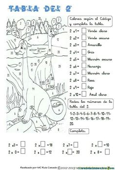 De la web: Para practicar la Tabla del 2 Addition Worksheets, Kids Math Worksheets, Math Resources, Math Games, Preschool Activities, Teaching Numbers, Math For Kids, Classroom Displays, Spanish Lessons