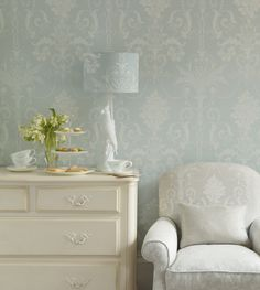 Find sophisticated detail in every Laura Ashley collection - home furnishings, children's room decor, and women, girls & men's fashion. Bedroom Wallpaper Laura Ashley, Blue Wallpaper Bedroom, Laura Ashley Bedroom, Laura Ashley Home, Duck Egg Blue Wallpaper Laura Ashley, Living Room Wallpaper Duck Egg, Duck Egg Blue Bedroom, Bedroom Green, Duck Egg Blue Hallway