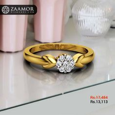 Turn heads wearing this beautiful ring. Gold Ring Designs, Gold Earrings Designs, Gold Jewellery Design, Couple Rings Gold, Engagement Rings Couple, Indian Engagement Ring, Gold Finger Rings, Diamond Finger Ring, Indian Wedding Rings