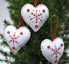 Felt Heart decorations. Embroidered  Snowflake Christmas ornaments.. $18.00, via Etsy.