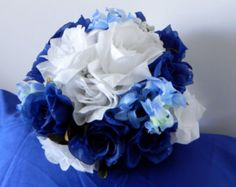 Affordable silk flower wedding bridal bouquet and boutonniere in white and blue