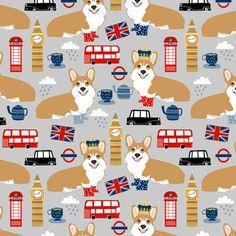 corgis in london - british london england union jack fabric corgi queen fabric fabric by petfriendly on Spoonflower - custom fabric