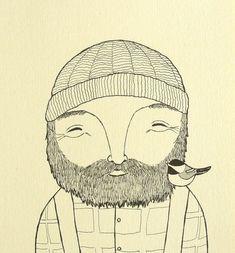 Bûcheron Chickadee impression Original dessin à l'encre par mikaart