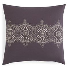 """Sky Eyelet Stripe Embroidered Decorative Pillow, 18"""" x 18"""""""