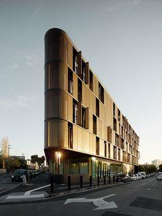 Luna Apartments, Melbourne, Elenberg Fraser, Alu 6010 Bronze Aluminum Mesh, Peter Clarke Photography