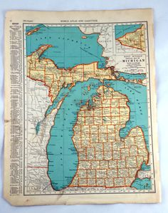 Michigan Massachusetts Antique Map. Vintage Map by LoveDoveTrading