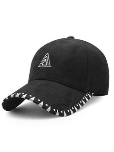 4ff7c840a37 Faux Suede Baseball Hat with Triangle Embroidery