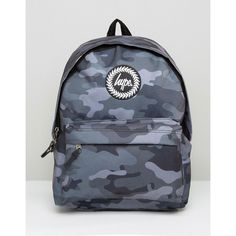 2bb46ffbc6f6 Hype Backpack In Black Camo (€37) ❤ liked on Polyvore featuring men s  fashion