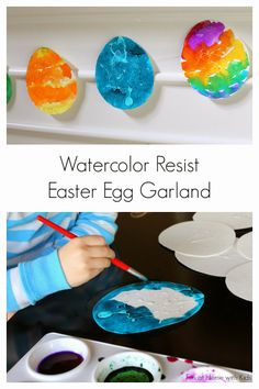 Watercolor Resist Easter Egg Garland - Easter Crafts and Activities for Kids - Watercolor Easter Craft Activities, Spring Activities, Preschool Crafts, Fun Crafts, Activities For Kids, Crafts For Kids, Activity Ideas, April Preschool, Craft Ideas