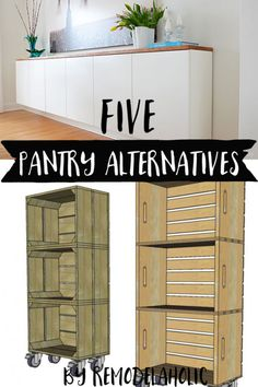 No pantry? Need more pantry space? These 5 alternatives are great for adding storage to your kitchen, especially if you're renting or can't make major changes. #spon