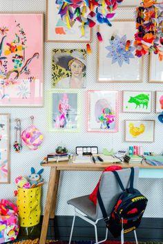 gallery wall by kids | Peg board gallery wall