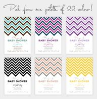 Free chevron printable invite set; 22 colors to choose from and even includes a matching thank you card, note card, favor tag, and food label/place card.