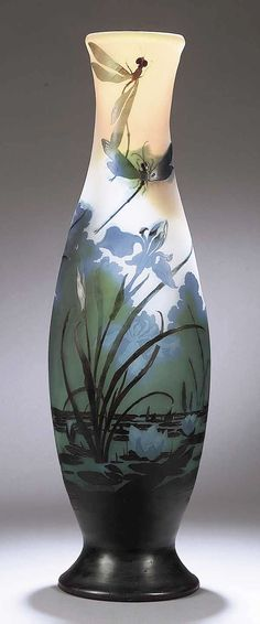 Art Nouveau Cameo Glass Vase, c. 1885-1900, by Emile Galle' | JV Cameo being a style of glass blowing where glass is multi layered, blown one inside the other, up to 7 layers