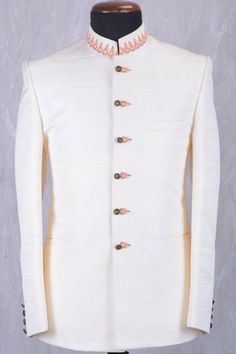 Buy Off White Raw Silk Zari Embroidered Jodhpuri Suit Online Samyakk Bangalore Indian Men Fashion, Mens Fashion Suits, Men's Fashion, Mens Suits, Kurta Pajama Men, Designer Suits For Men, Gentleman Style, Menswear, How To Wear