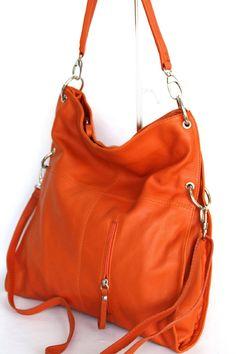 Leather totes shoulder bag DIN A4 italian leather orange