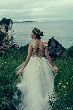 c4da0744fec2 BHLDN fall 2016 bridal spagetti strap v neckline heavily embellished bodice  romantic princess tulle skirt pretty