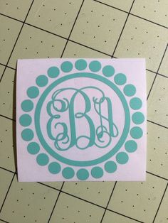 Monogram circle dot pearl Decal for car by aSweetSouthernAccent