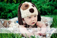 Puppy Dog Knitted Hat newborn to 3 months PHOTO PROP by mandag433, $20.00