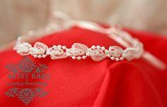 Cream and Pearls newborn baby headband in by greenearthstudio, $12.50
