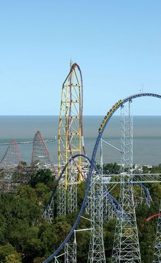 The three tallest coasters at the world-famous Cedar Point: Millennium Force (foreground), Top Thrill Dragster (centre) and Magnum (background) - all awesome rides! Best Amusement Parks, Amusement Park Rides, Best Roller Coasters, Parc A Theme, Kings Island, Cedar Point, Water Slides, Love Pictures, Places To Go