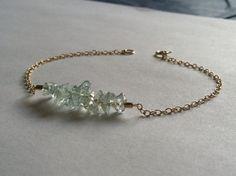 Resting Aquamarine Chips Bracelet by ALEPHTAVJEWELRY on Etsy, $24.00