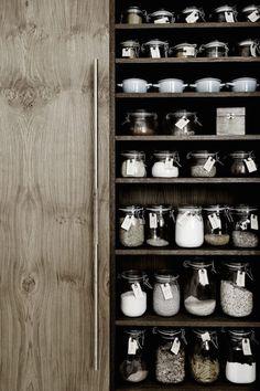 Storage jars in the kitchen of Danish carpenter and designer Kim Dolva of Københavns Møbelsnedkeri.