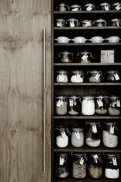 Storage jars in the kitchen of Danish carpenter and designer Kim Dolva of…