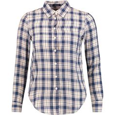 R13 Baby checked cotton and wool blend shirt ($295) ❤ liked on Polyvore  featuring