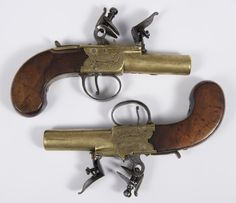 Pair late eighteenth century flintlock pocket pistols, by Wilkinson Bristol, with brass box lock