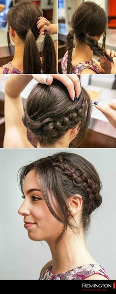 How to Get the Milkmaid Braid Right Off the Golden Globes Red Carpet If you can create a simple braid, you can do this! This easy milkmaid braid tutorial would look chic at any event. Try this hairstyle for your next wedding, cocktail party, or barbecue! Pretty Hairstyles, Braided Hairstyles, Red Carpet Hairstyles, Wedding Hairstyles, Braided Updo, Barber Hairstyles, Hairstyle Braid, Pigtail Hairstyles, Hairdos