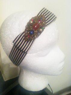 Coco Chanel-1920's in Paris Headband with Antique Brooch, $54.00