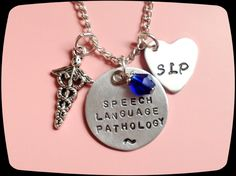Speech Therapist Jewelry, SLP necklace, Speech Therapy Gift, Speech Language Pathology, Handstamped, Personalized Jewelry by ThatKindaGirl on Etsy https://www.etsy.com/listing/187423026/speech-therapist-jewelry-slp-necklace