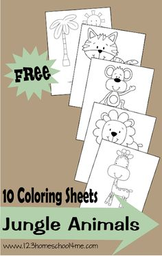 FREE Jungle Animals Coloring Sheets Super cute free printable coloring pages with a jungle theme. These animal coloring sheets are great for toddler, preschool, kindergarten, and more. Preschool Jungle, Jungle Crafts, Preschool Kindergarten, Toddler Preschool, Zoo Crafts Preschool, Zoo Animal Crafts, Kids Crafts, Safari Crafts, Free Preschool