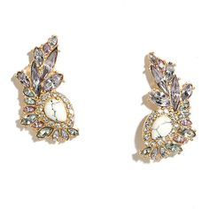 Mermaid Moment Gold and White Rhinestone Earrings ($12) ❤ liked on Polyvore featuring jewelry, earrings, gold, clear crystal earrings, yellow gold jewelry, white earrings, white gold earrings and yellow gold earrings