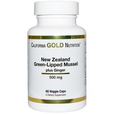 California Gold Nutrition, New Zealand, Green Lipped Mussel Plus Ginger, 500 mg, 60 Veggie Caps