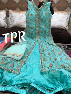 Net stitchd gownWd net embroidered front n back jacketWd bottom n duppta Size upto 40 Anarkali Suits, Punjabi Suits, Kamiz, Indian Fashion, Womens Fashion, Lehenga, Saree, India Jewelry, Indian Wear
