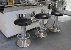 Designs for Leisure Chrome and Leather Bar Stools 2