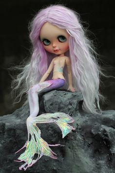 Another cute mermaid doll Ooak Dolls, Blythe Dolls, Barbie, Mermaid Dolls, Creepy Dolls, Little Doll, Monster High Dolls, Custom Dolls, Ball Jointed Dolls